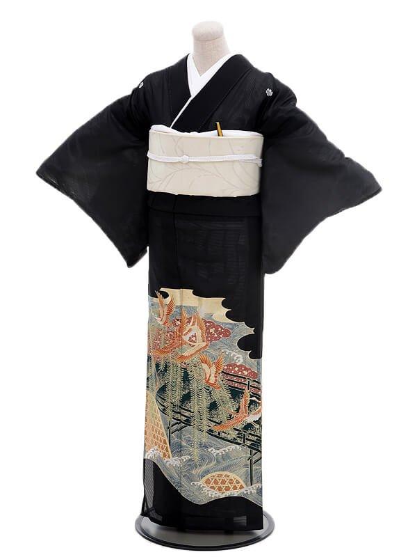 夏留袖6078かけ橋に鶴(化繊 絽)