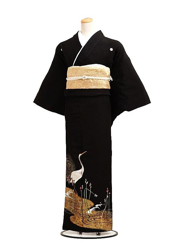 黒留袖レンタル6063流水に鶴