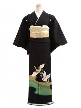 黒留袖レンタルC6008グリーン箔に白鶴