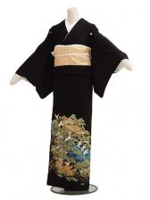 黒留袖レンタルC6016松に飛翔鶴