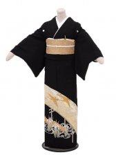 黒留袖6071鶴と菖蒲
