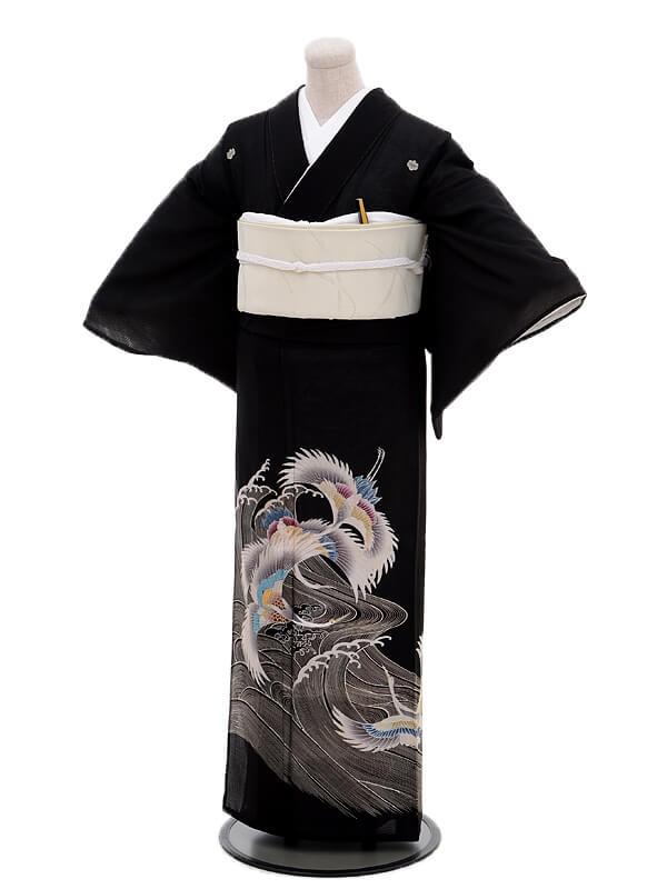 夏留袖6079白波に鶴(化繊 絽)