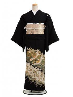 黒留袖レンタル6041小松に二羽鶴
