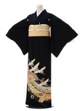 黒留袖6-62鶴と扇面