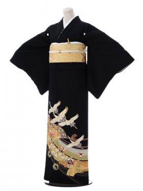 黒留袖レンタル6-62鶴と扇面