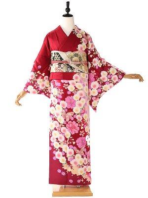 訪問着 赤×白 桜蝶 6218