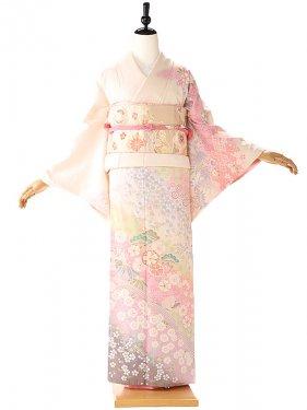 訪問着 白 ピンク桜の流れ 6208