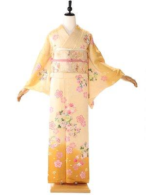 訪問着 黄色 桜花紋 6207