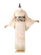 桂由美 訪問着 黄色 桜の舞 6178