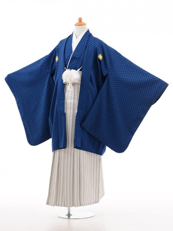 小学生卒業式袴男児D007ブルー×白シルバー袴
