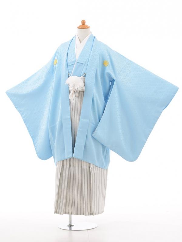 小学生卒業式袴男児D002水色×白シルバー袴
