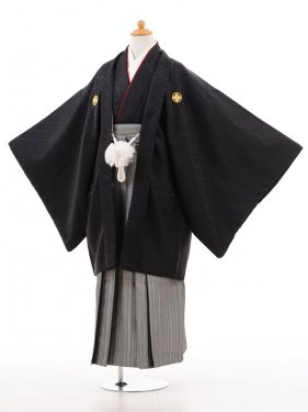 小学生卒業式袴男児D004黒×白シルバー袴