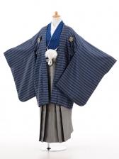 小学生卒業式袴男児D006黒ブルーダイヤ柄×シルバ