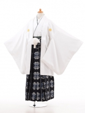 ジュニア着物男児D010白×紺袴