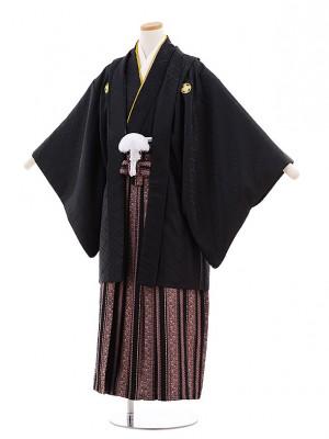 小学生 卒業式 袴 男児 D017 黒紋付×黒ピンク袴