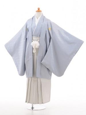 小学生 卒業式 袴 男児 D001グレー×白シルバー袴