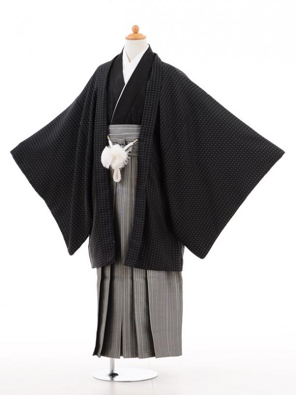 小学生卒業式袴男児D008黒ドット×シルバー袴