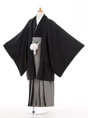 小学生 卒業式 袴 男児 D008黒ドット×シルバー袴