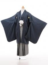 小学生卒業式袴男児D003ブルーグレー×シルバー袴