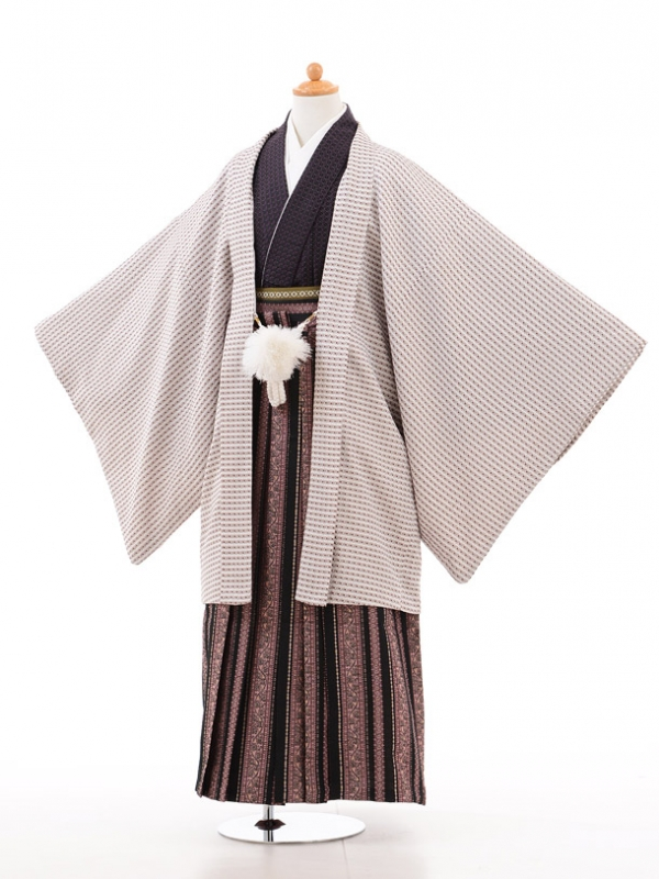 小学生卒業式袴男児D011ベージュ紫×黒ピンク袴