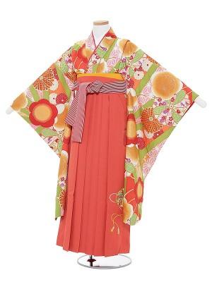 小学生卒業式袴レンタル0025九重オレンジ古典×オレンジ袴