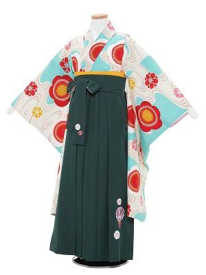 小学生女卒業袴0028ちはやふる×JAPANSTYLE ターコイズ梅×緑袴