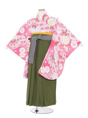 小学生卒業袴(女児)0016 ピンク桜まり×抹茶袴