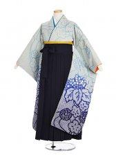 小学生卒業式袴女児9006欄15絞りブルー花