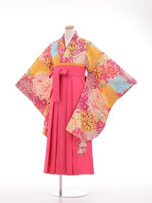 小学生卒業式袴女児9028 ピンク祝菊