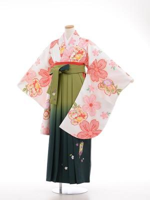 小学生卒業式袴女児9026 白地かのこ桜