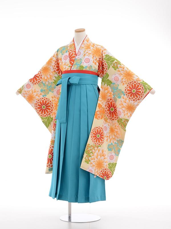 小学生卒業式袴女児9038 クリーム多色花模様
