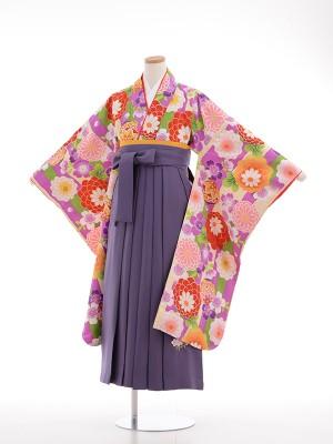 小学生卒業式袴女児9031 紫・クリームたて柄 花の舞