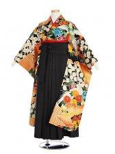 小学生卒業式袴女児9012黒地オレンジ雲どり