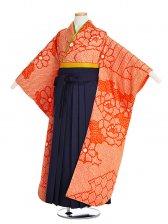 小学生卒業式袴女児9007桜22オレンジ絞り