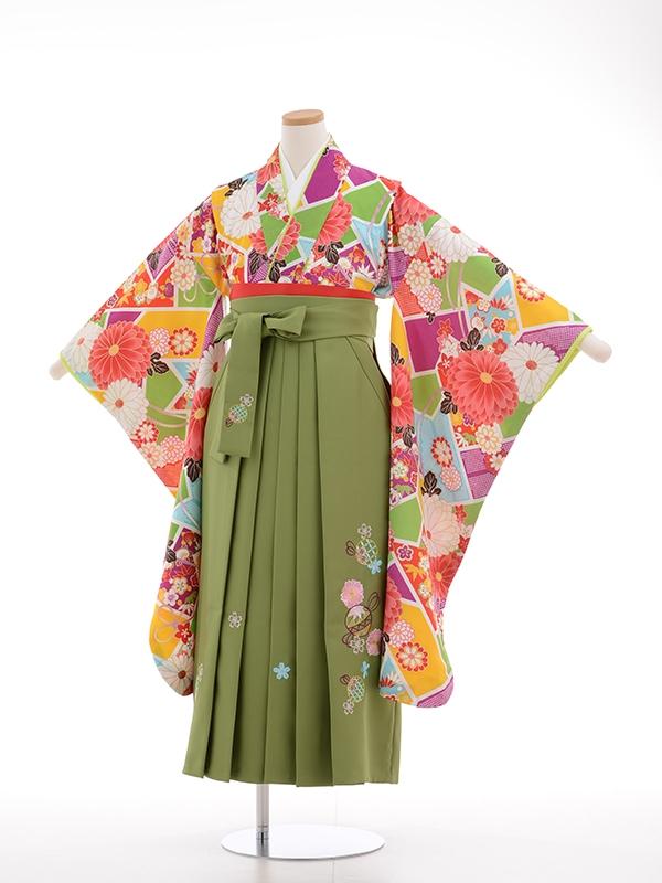 小学生卒業式袴女児9005多色地に大輪菊に花