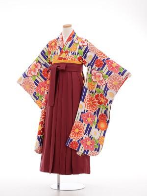 小学生卒業式袴女児9029 青・矢羽根 祝花