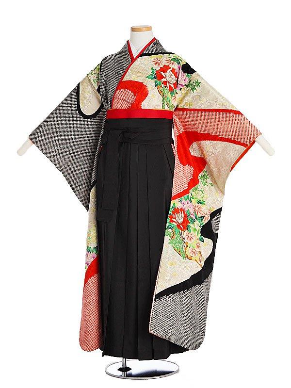 小学生卒業式袴女児9003赤黒かのこしぼり
