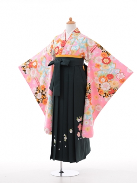 小学生卒業式袴女児9016ピンクポイント黒さ
