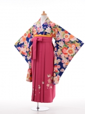小学生卒業式袴女児9015紺地ピンク花の舞