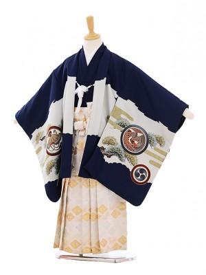 七五三(5歳男袴) H070 紺地 丸紋鷹