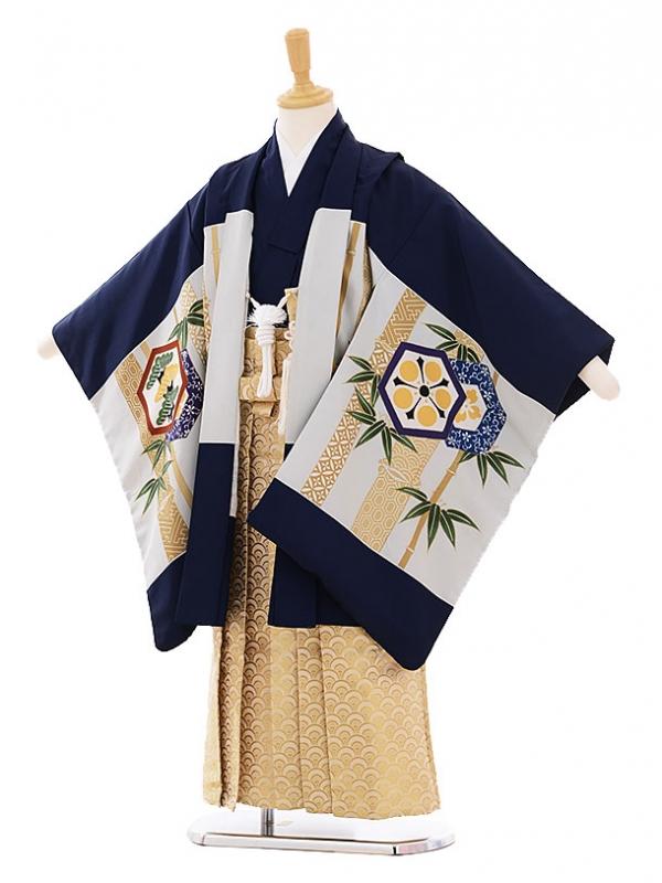 七五三(5歳男袴) H073 紺地 竹かぶと