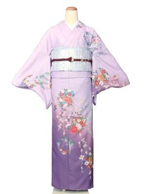 ワンタッチ 訪問着(L 162-167cm)紫