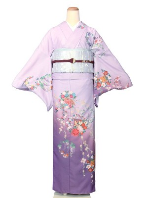 ワンタッチ 訪問着(M 157-162cm)紫