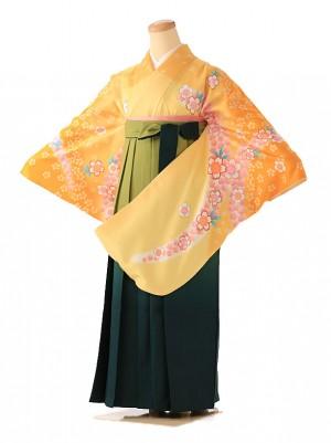 小学生卒業式袴レンタル(女の子)  黄色 小桜 9078