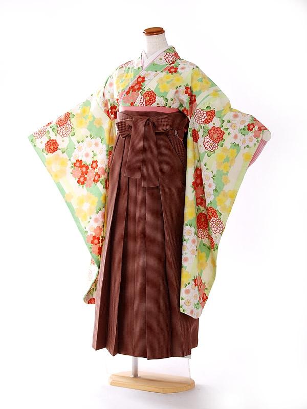 ジュニア袴 pomponette 黄緑 FC9157