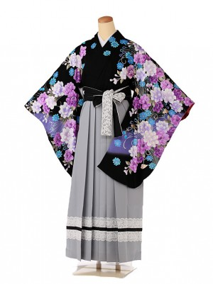 卒業式 女袴 Xmiss 紺×グレー 9110