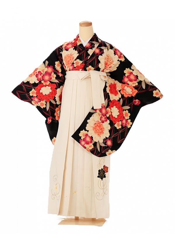 卒業式 女性用袴 アトリエサブ黒×白9107