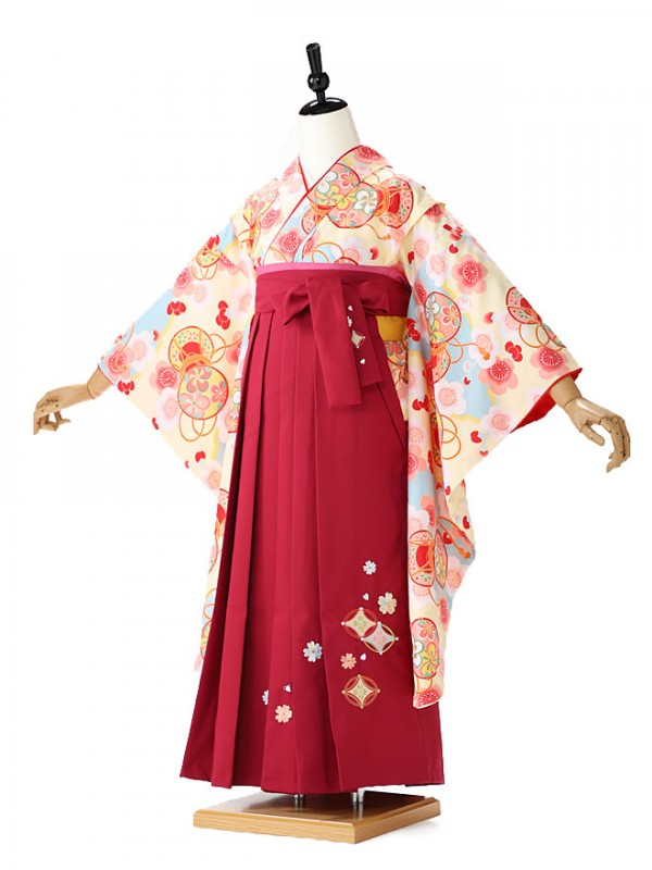小学生卒業式袴レンタル(女の子) 黄色×エンジ袴FC9156