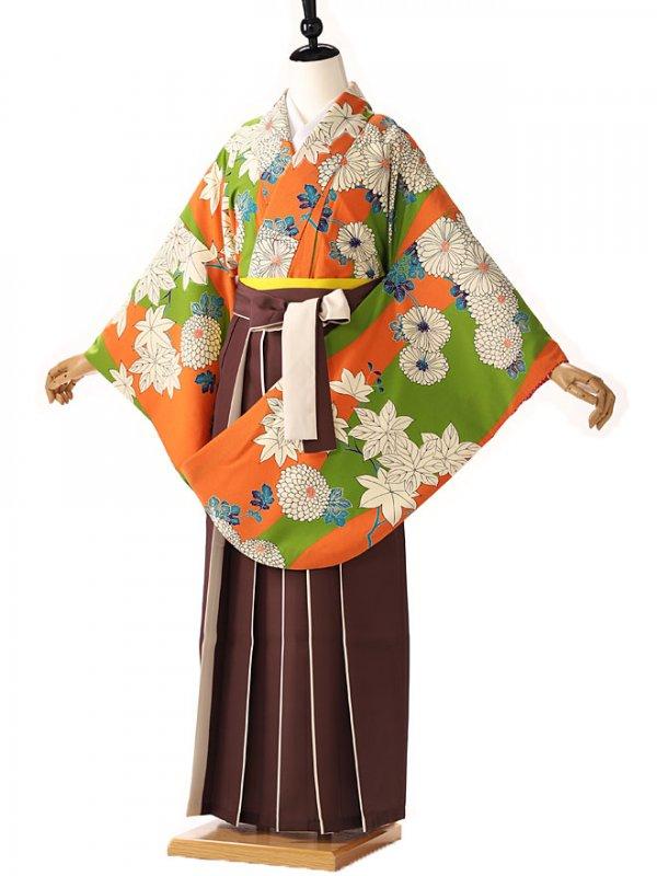 ジュニア 九重 緑×オレンジ古典柄 9140