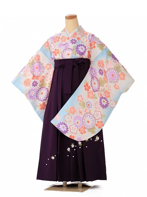 小学生卒業式袴レンタル(女の子) 水色牡丹 9253
